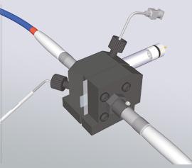 Spektro-Elektrochemie Durchfluss-Messzelle für Gold, Platin, Kohlenstoff oder ITO Arbeitselektroden mit wässriger oder non-aqueous Referenzelektrode und optionalen Kollimatoren mit Faserkopplern