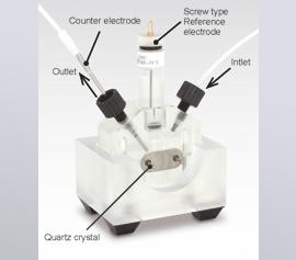 eQCM Durchfluss-Messzelle für kombinierte Messungen Elektrochemie und Quarz-Mikrowaage