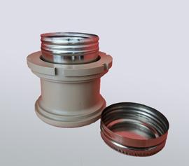 PEEK-Adapter mit Luftspalt zur Isolation und Schutz der Kugellager. 150ml Edelstahlbecher für Hochtemperaturanwendungen bis 130°C (mit Standard-O-Ring).