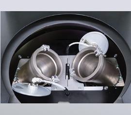 Zwillingsbehälteraufnahme 98mm Innendurchmesser mit Vakuumdeckeln (offen)