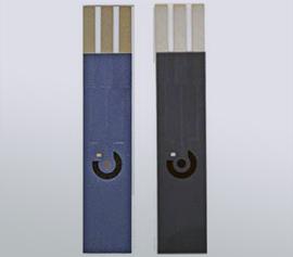 Elektrochemische Einwegsensoren mit 12 mm2 Arbeitselektrode (Pt, C), 30 mm2 Gegenelektrode (C) und 0.6 mm2 Referenzelektrode (Ag/AgCl-Paste) width=
