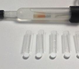 Polymerfritten (5 Stück incl. Schrumpfschlauch) Durchmesser 3.4mm und Höhe 3.5mm für alkalische oder fluoridhaltige Elektrolyte