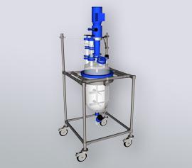3D Darstellung eines Glas-Ausrührgefäßes im Edelstahlgestell
