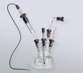 Freistehendes-, assembliertes Dr. Bob´s Messzellen-Set incl. Heiz-/Kühlmantel