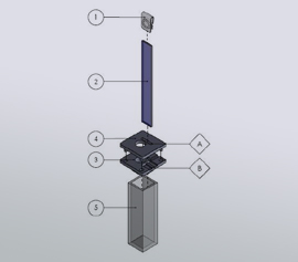 Raman ITO Küvetten-Kit bestehend aus (1) Klemmkontakt, (2) Poliertes Floatglass mit ITO-Beschichtung (8 mm x 60 mm x 1.1 mm; ca. 10 Ω), (3,4) Küvettendeckel-KIT, (5) Standard-Quarzküvette (10 mm opt. Weglänge)
