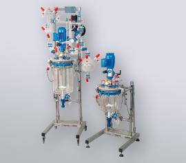 Glasrührapparat 2 – 15 Liter mit Destillationsaufbau und Ex geschütztem Motor