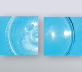 Die Vorteile des Vakuums werden oftmals erst unter dem Mikroskop sichtbar, hier am Beispiel von transparentem Silikon für eine optische Anwendung zu sehen