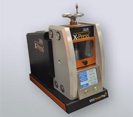 Vollautomatische SPEX Presse 3636 X-Press® mit geschlossener Sicherheitstür, betriebsbereit