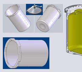 Die 14,5 Liter Edelstahlbehälter können als wiederverwendbarer Behälter verwendet werden oder dienen als Halter für kundenspezifische Behälteradapter