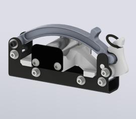 Zellaufschluss-Mühle SPEX 1200 GenoLyte® - geschlossene Probenhalterung mit eingelegtem 12ml Polycarbonat-Probenbehälter (Artikel-Nummern 1218 und 6133PC-T)