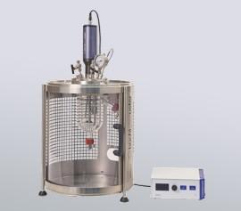 Uniclave -Glasdruckreaktor im Sicherheitsgehäuse mit Polycarbonat Schiebetüre width=